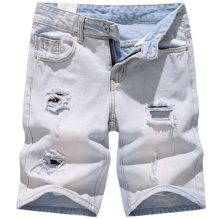 夏日淺色刷破牛仔短褲,,,03070836,夏日淺色刷破牛仔短褲,