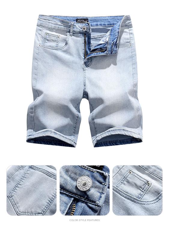 清爽自然.淺色刷白牛仔短褲