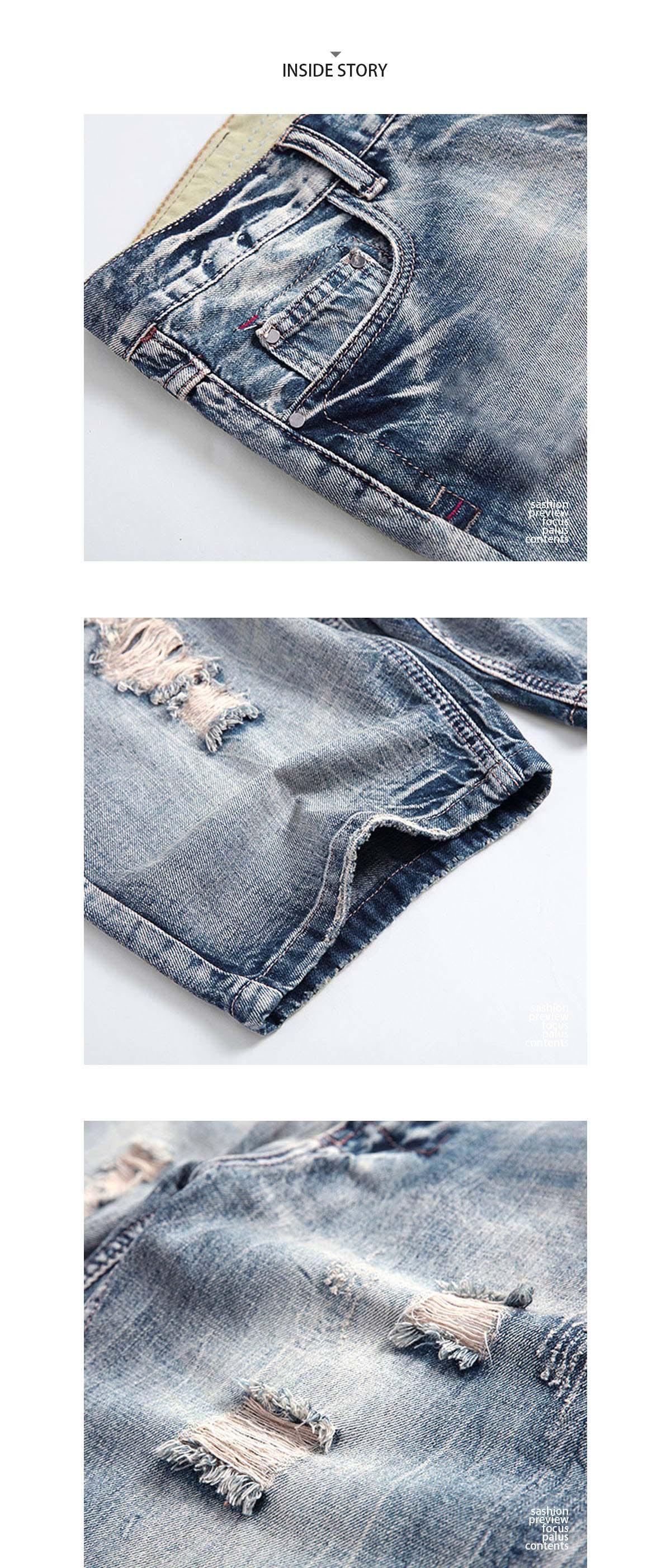 灰藍.基本款刷破牛仔短褲