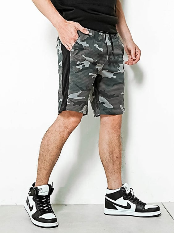 透氣網眼 迷彩拼接短褲,,,03070933,透氣網眼迷彩拼接短褲,