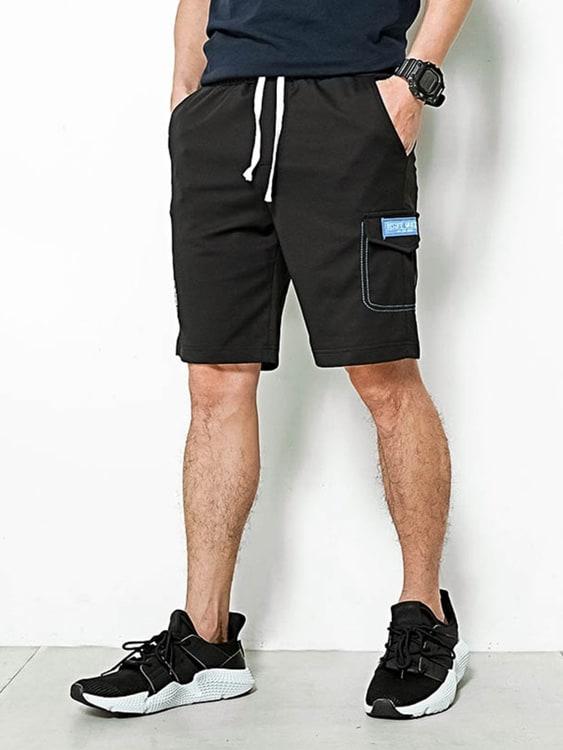 撞色布標設計休閒短褲,,,03070939,撞色布標設計休閒短褲,