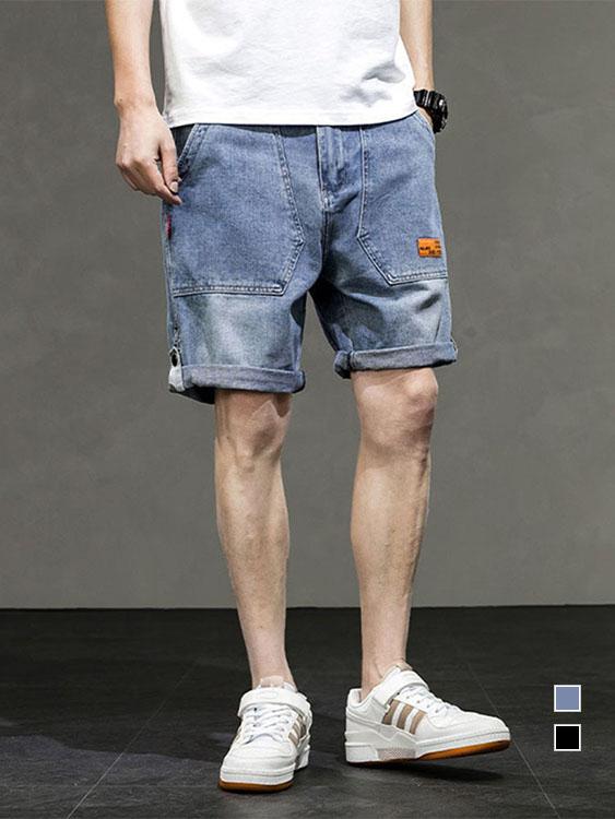 反摺兩穿法 橘標牛仔短褲