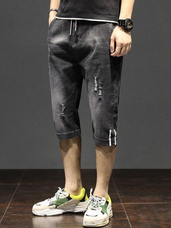 褲腳雙線設計 破損七分牛仔褲