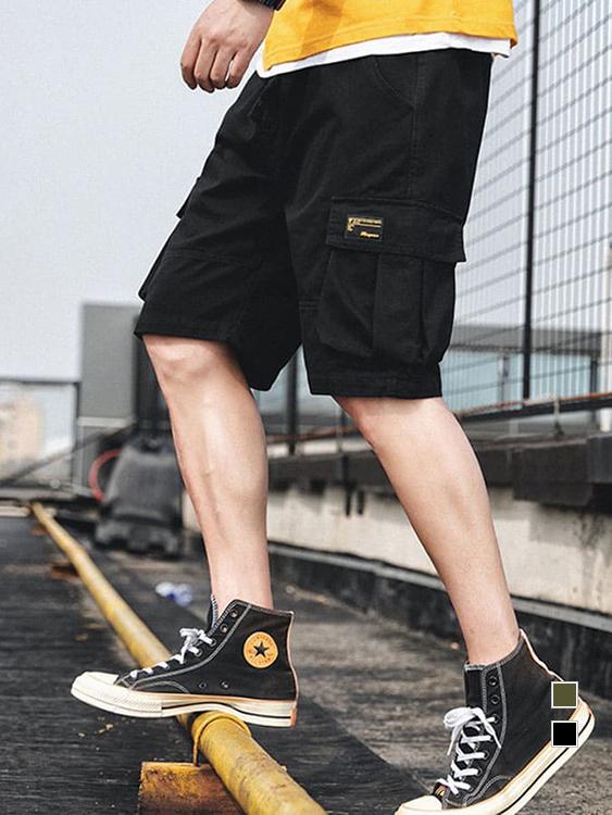 黑標立體口袋工裝短褲