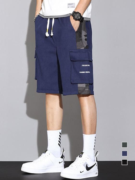 時尚耐穿 迷彩拼接工裝短褲