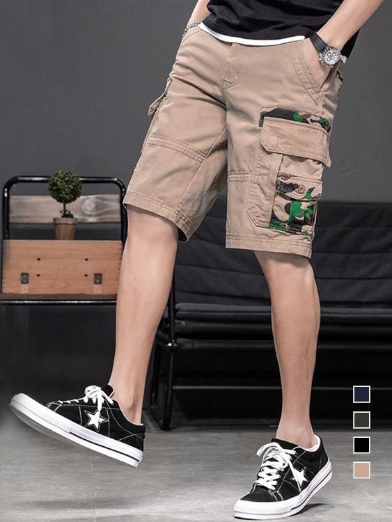 迷彩拼接多層次口袋工裝短褲