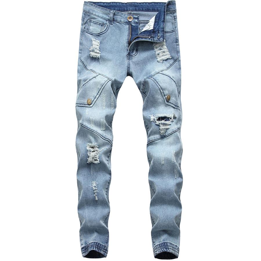 型男酷褲單品.多層次拼接縮口牛仔褲,,,03090128,型男酷褲單品.多層次拼接縮口牛仔褲,
