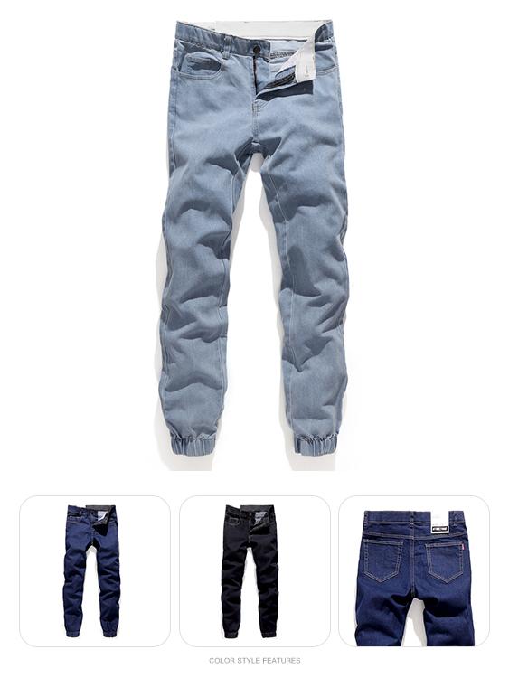 男人衣櫃必備.彈力帶設計素面縮口丹寧褲