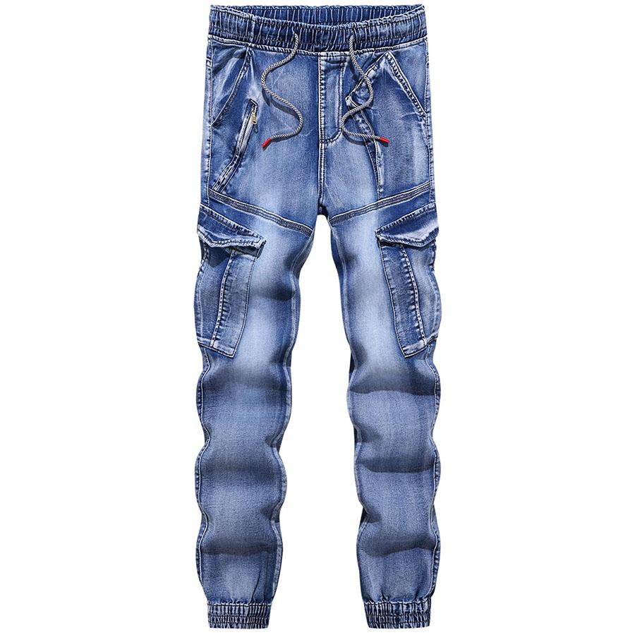 斜口袋拉鍊.抽繩縮口牛仔褲,,,03090168,斜口袋拉鍊.抽繩縮口牛仔褲,