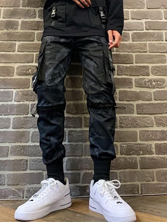 迷彩拼接造型.多口袋工裝長褲