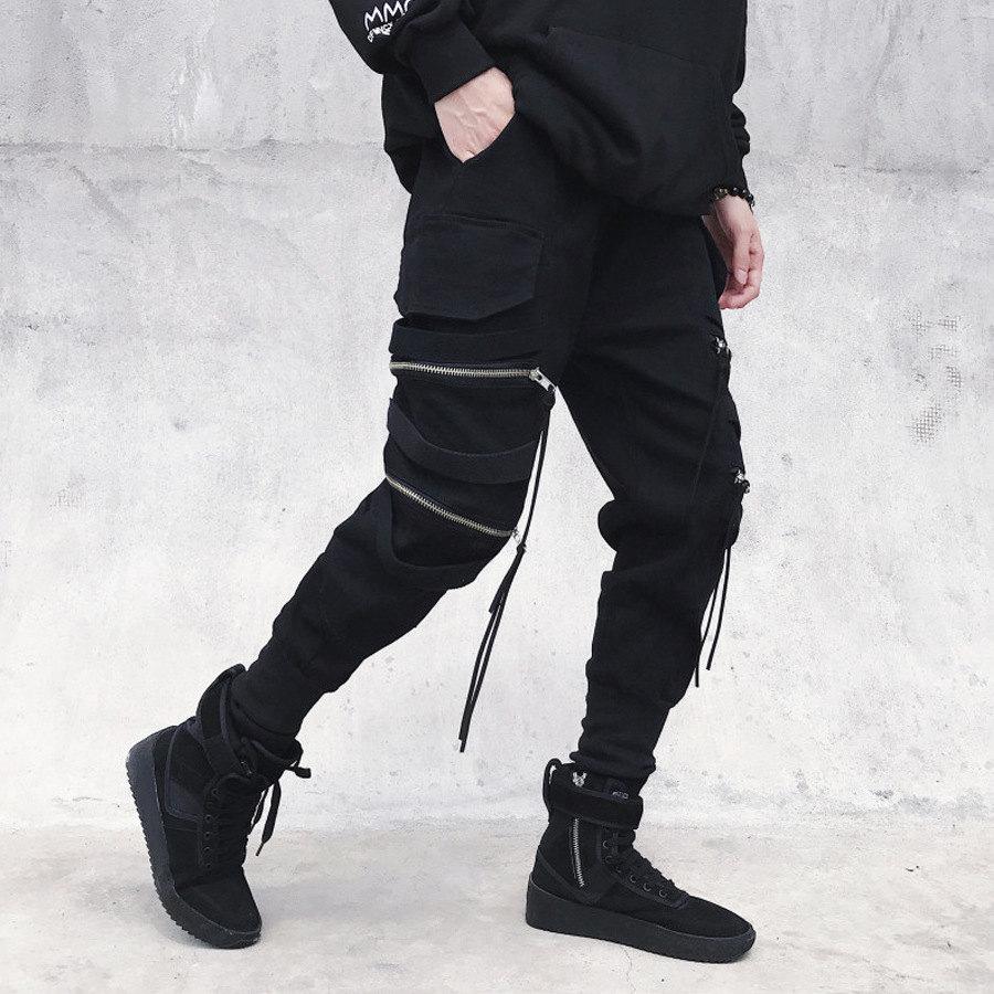 銀色雙練.綁帶造型縮口褲