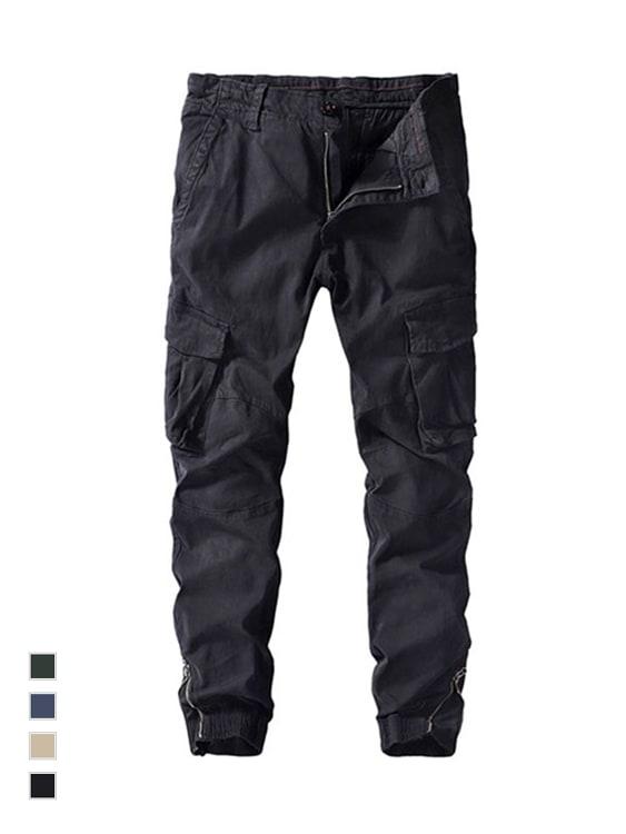 簡約拉鍊造型.工裝縮口褲
