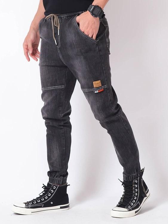 拼接設計鬆緊牛仔縮口褲