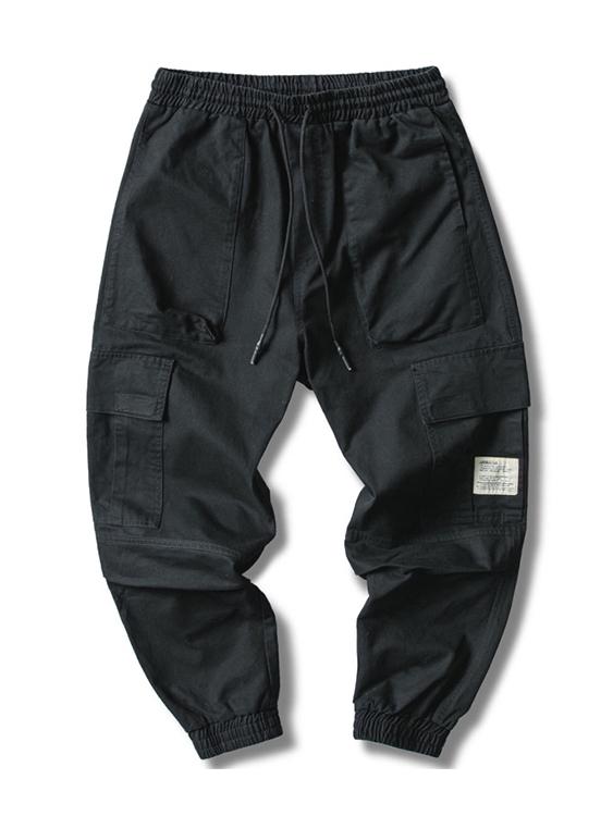 白標素色多口袋工裝長褲