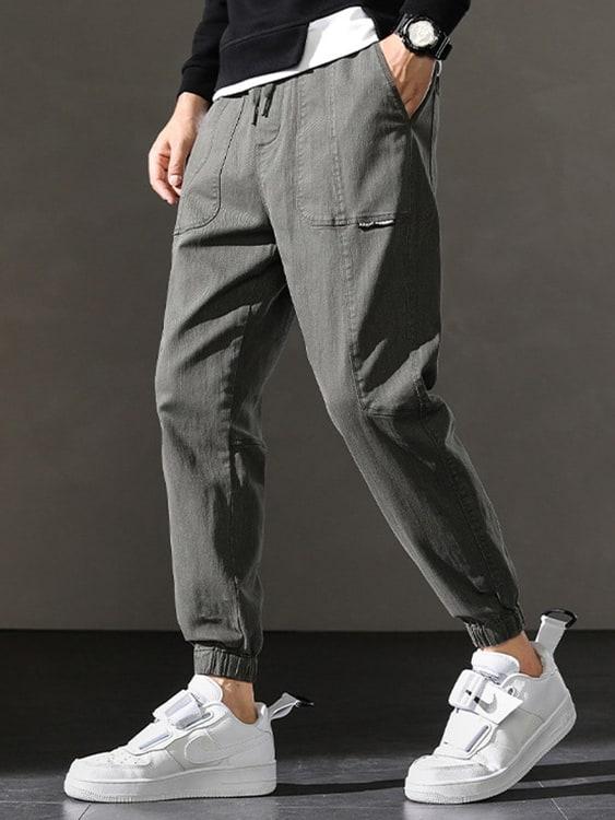 簡約小標 素色工裝縮口褲