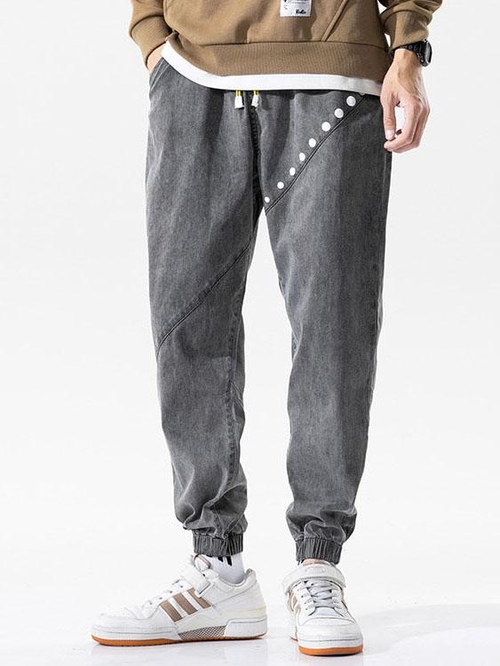輕復古波點時尚 鬆緊腰縮口牛仔褲