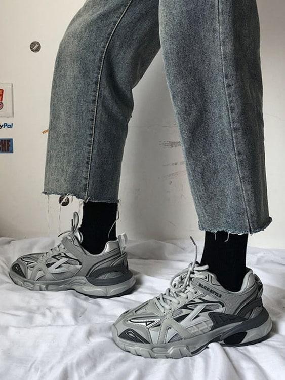 情侶款.鞋面交織厚底休閒鞋