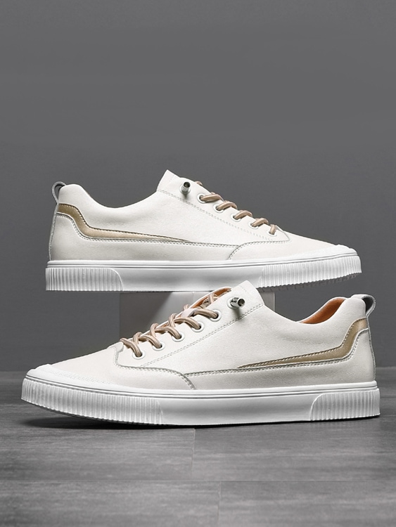線型設計真皮柔軟平板鞋