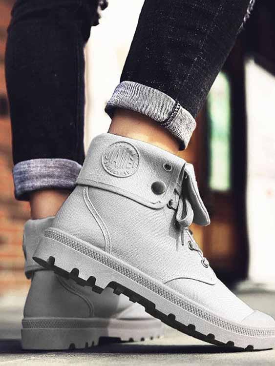 潮流必備單品.翻舌兩穿式高筒靴