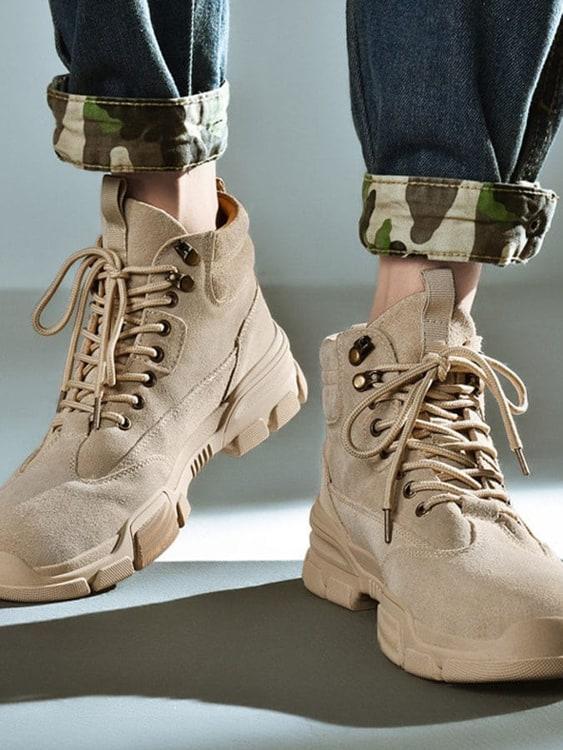 素面絨皮.野性厚底馬丁靴