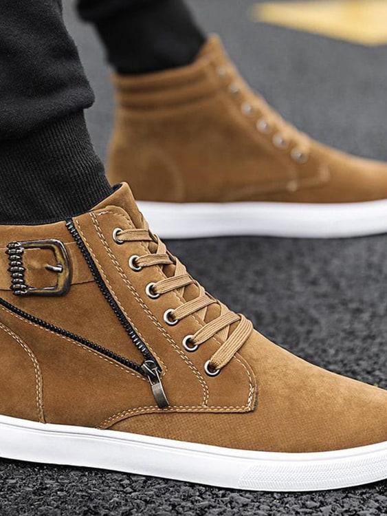 時尚拉鍊造型.絨面高筒鞋