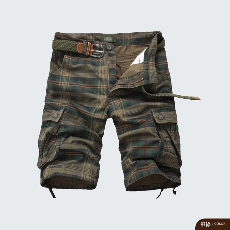 懷舊工裝.多口袋格紋短褲,,,G3070006,懷舊工裝.多口袋格紋短褲,