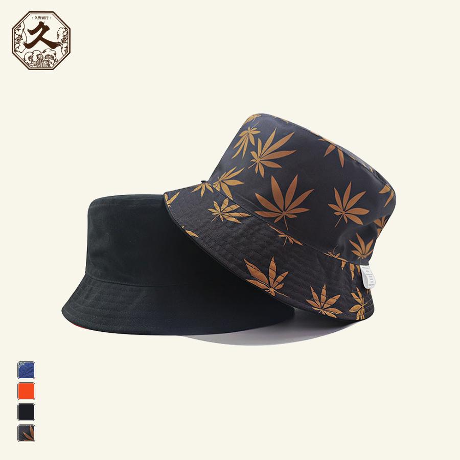 雙面可戴.素面印花漁夫帽