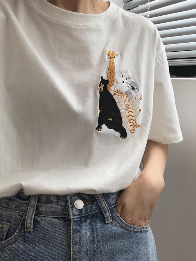 趣味動物電繡短袖上衣
