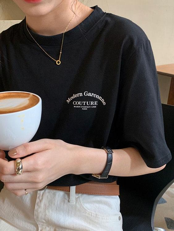 休閒寬鬆字母印花短袖上衣,,,K1010180,休閒寬鬆字母印花短袖上衣,