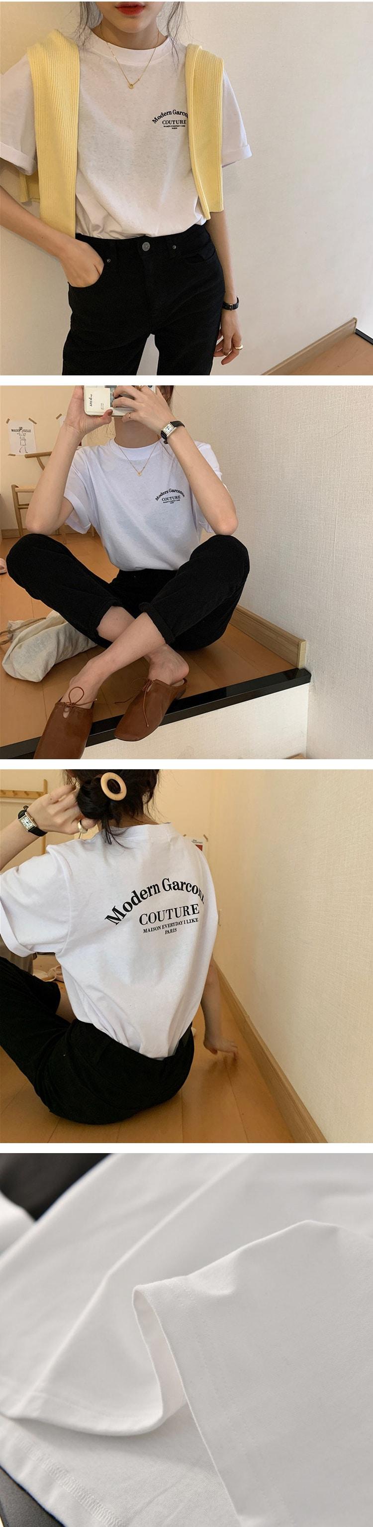 休閒寬鬆字母印花短袖上衣