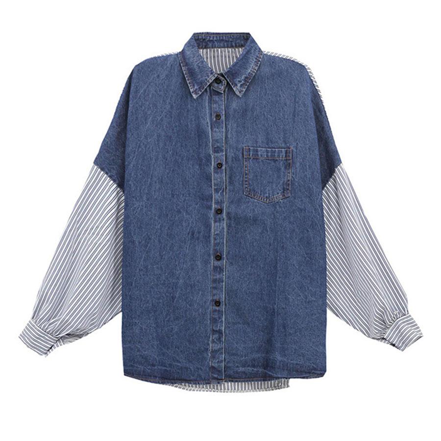條紋拼接牛仔襯衫外套【微肉女孩】,,,K1020088,條紋拼接牛仔襯衫外套【微肉女孩】,