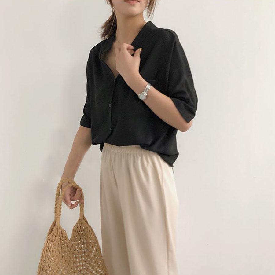 韓版小V領雪紡短袖襯衫,,,K1030040,韓版小V領雪紡短袖襯衫,