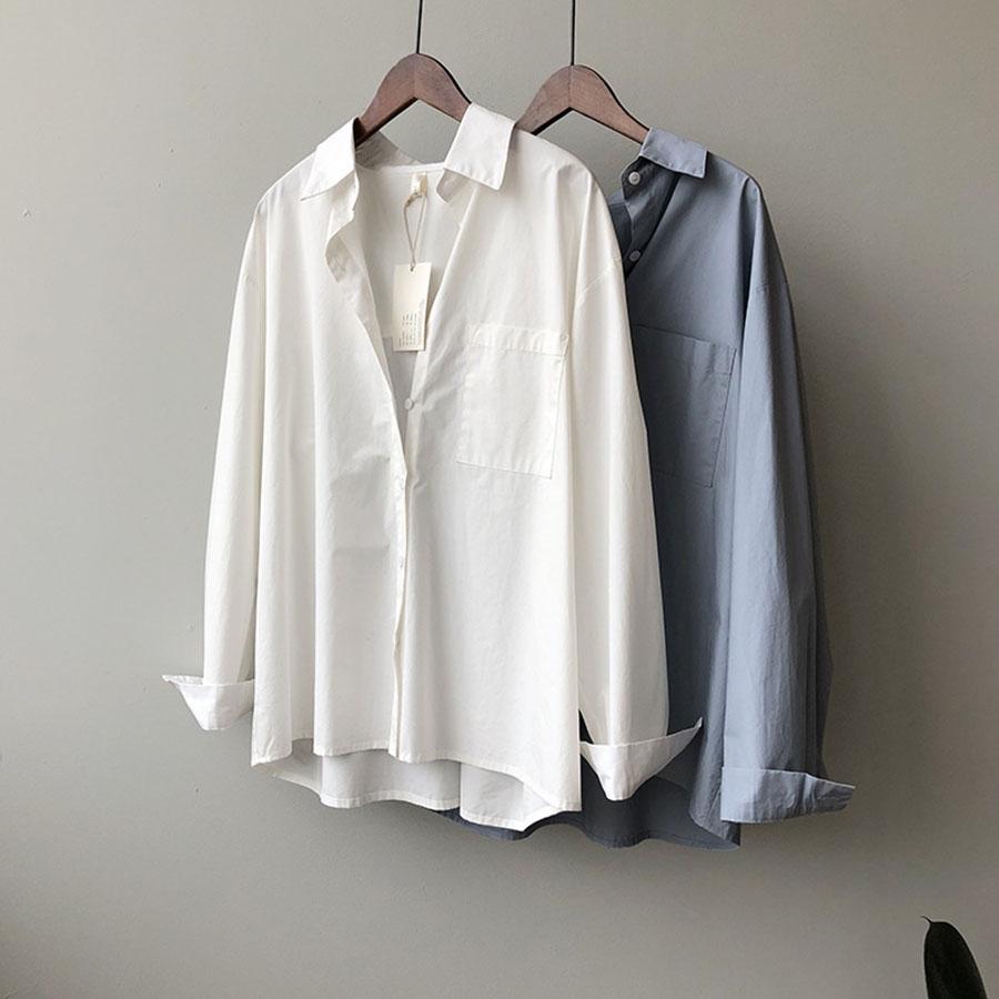 OVERSIZE舒適棉質長袖襯衫