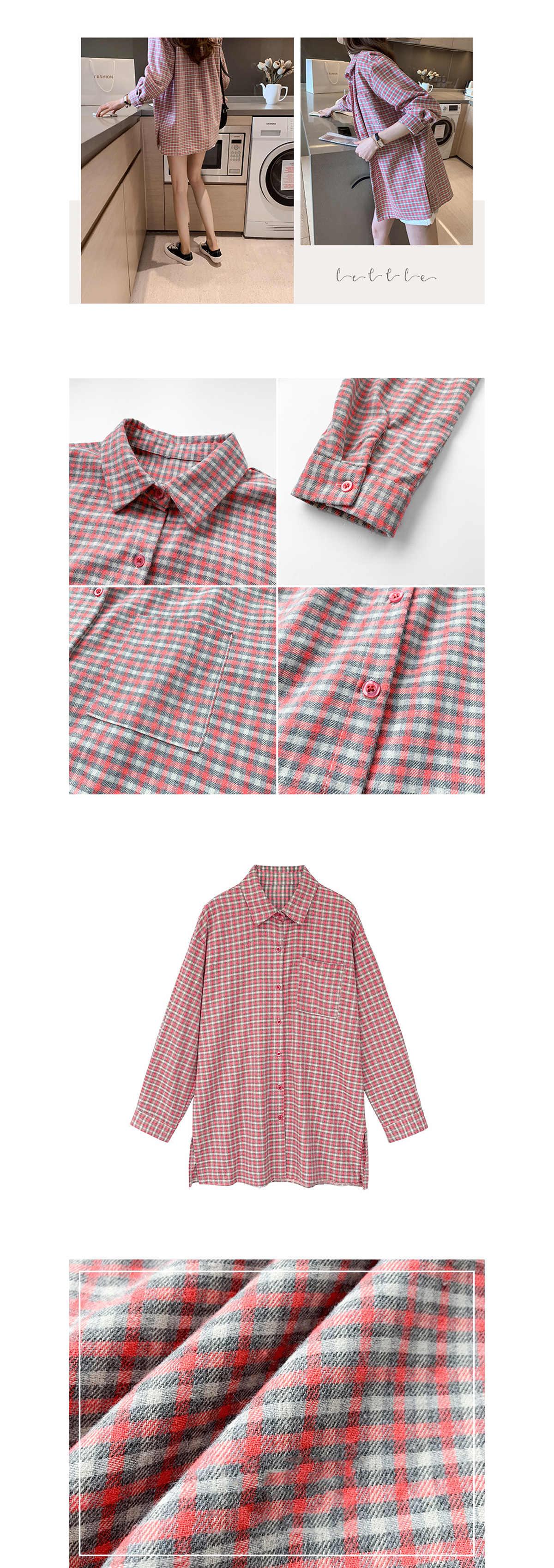 清新風翻領小方格長袖襯衫