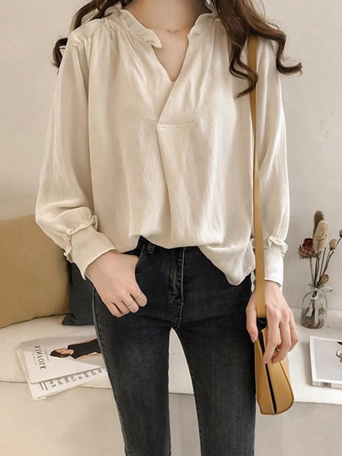 設計袖款V領長袖襯衫