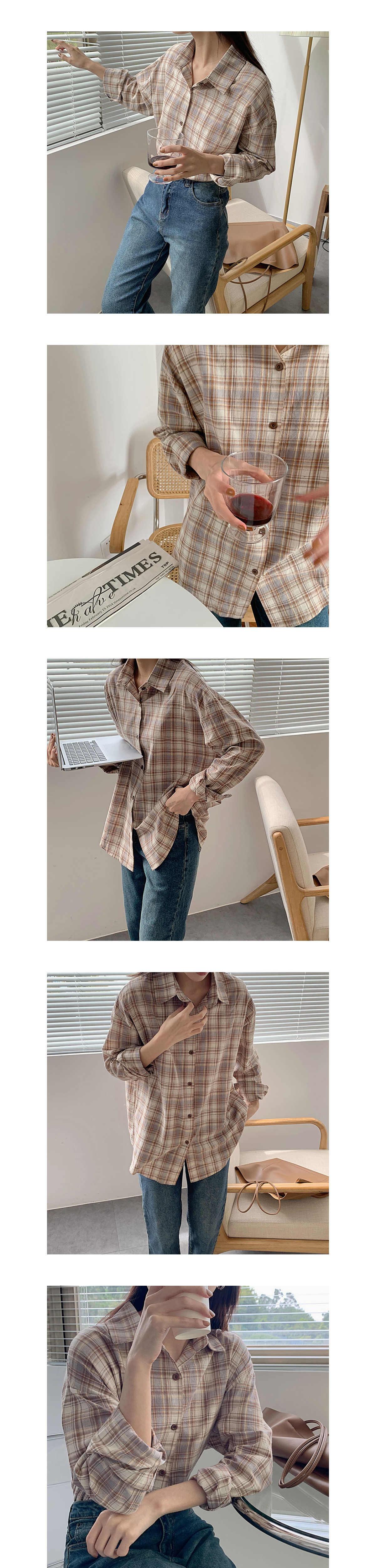 溫柔氣質格紋長袖襯衫