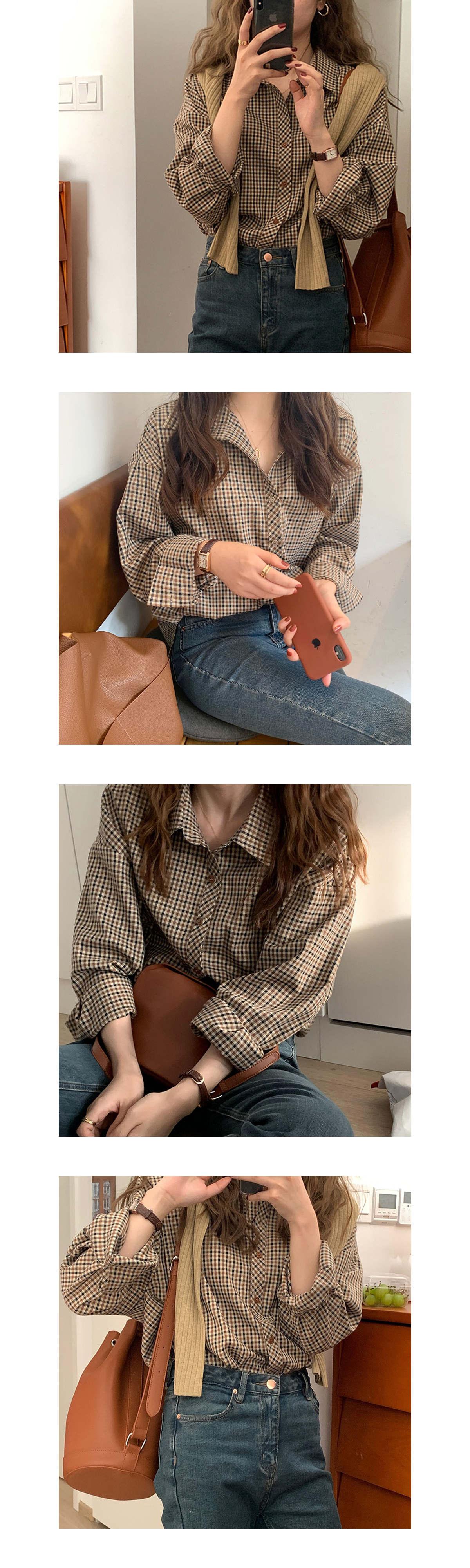 復古格紋翻領長袖襯衫