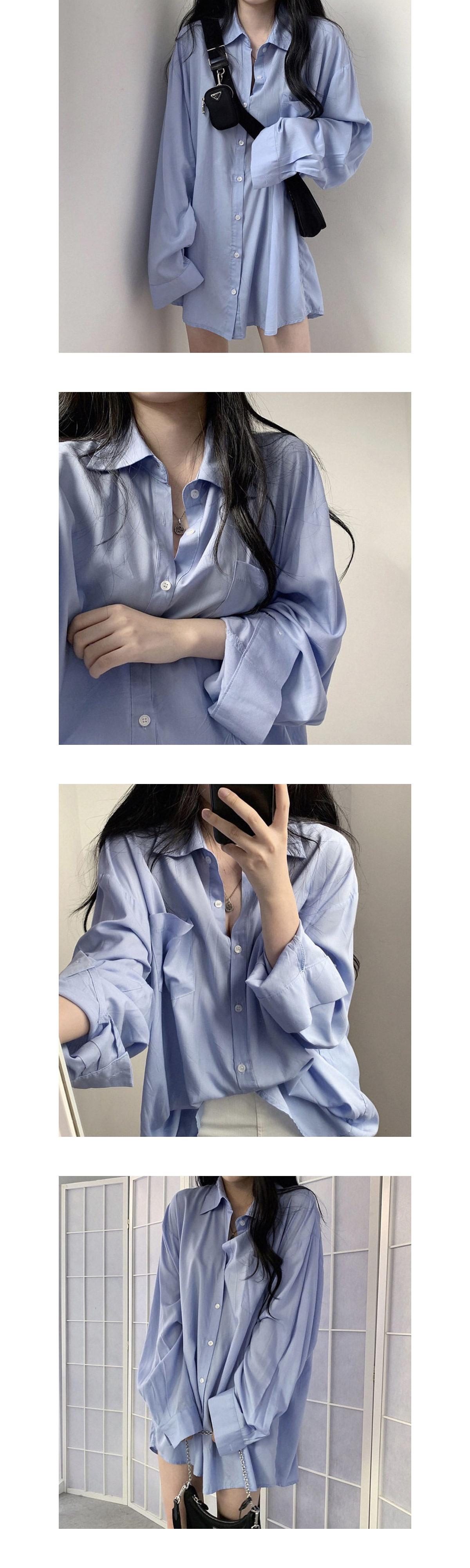 男友風長版防曬絲滑寬版襯衫
