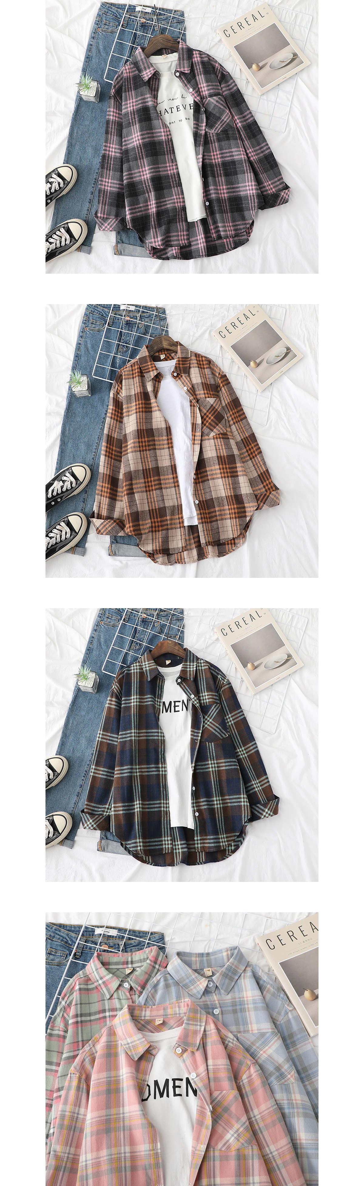 韓版百搭款格紋長袖襯衫