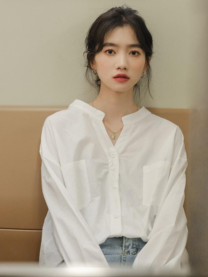 簡約V領氣質長袖襯衫