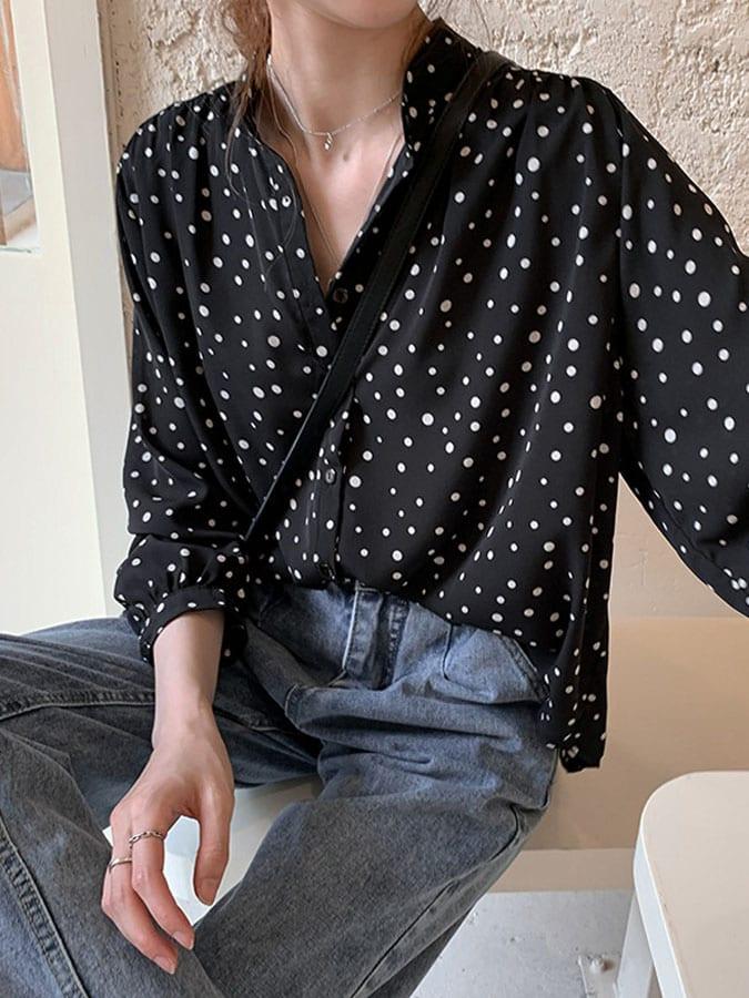 法式圓領波點雪紡燈籠袖襯衫