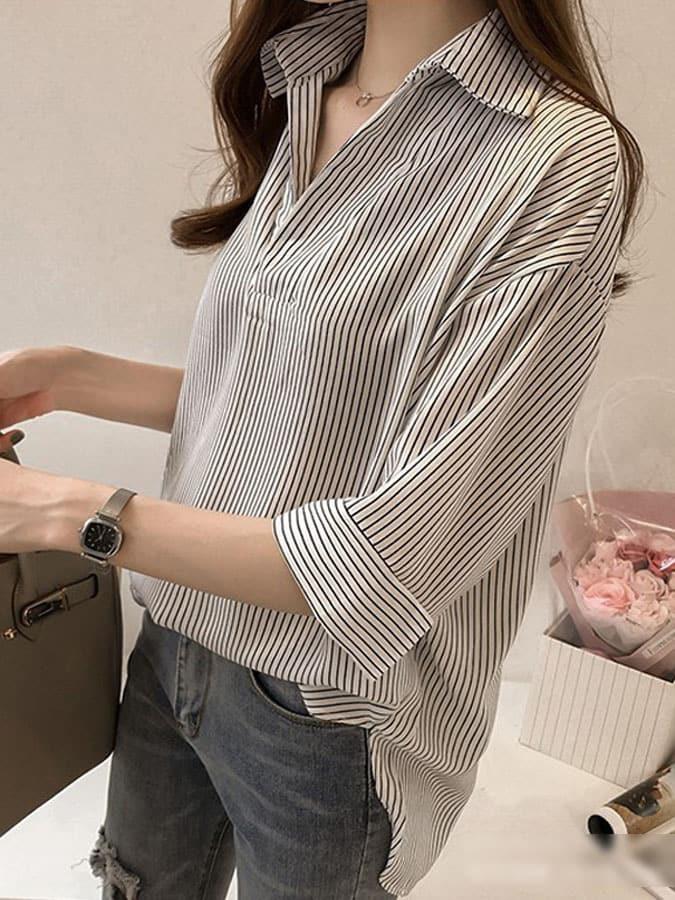 顯瘦V領知性條紋七分袖襯衫