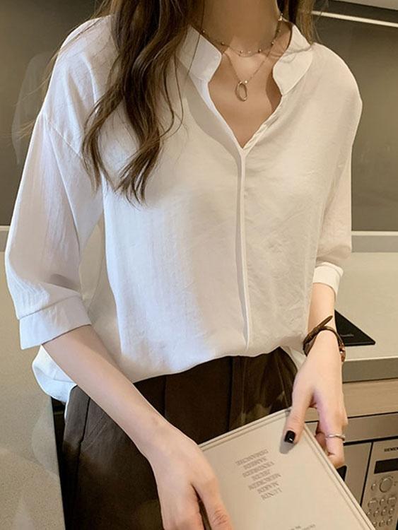 V領無扣式七分袖襯衫,,,K1030126,V領無扣式七分袖襯衫,