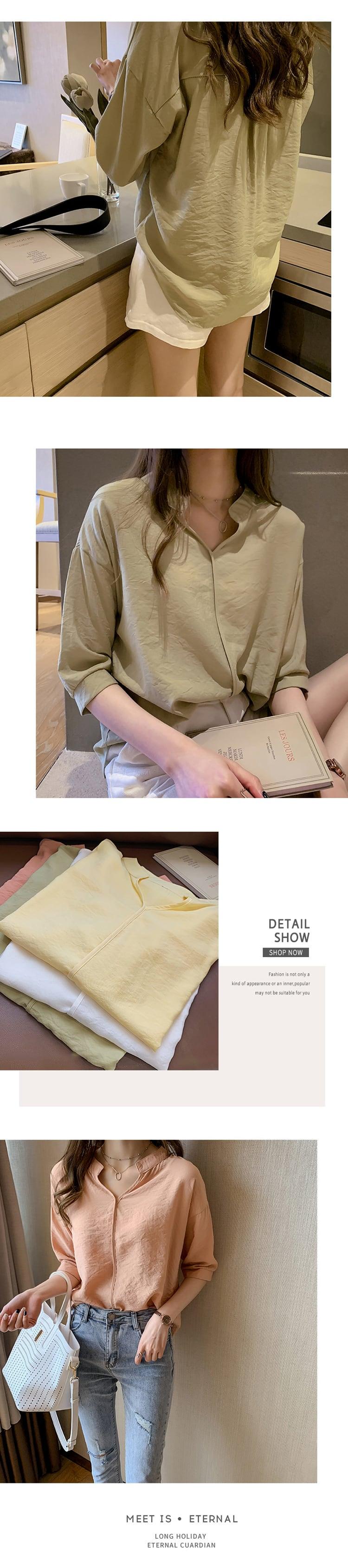 V領無扣式七分袖襯衫