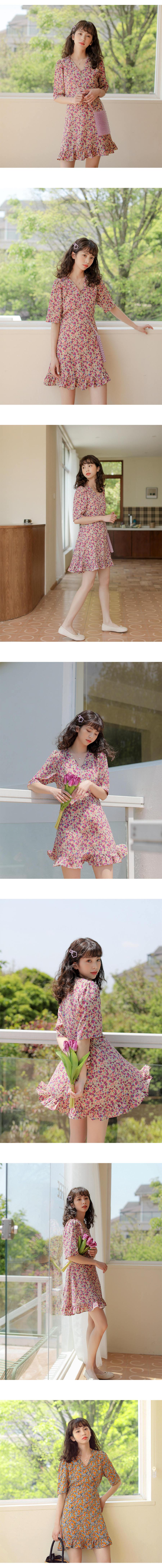 韓版小清新浪漫碎花V領魚尾洋裝