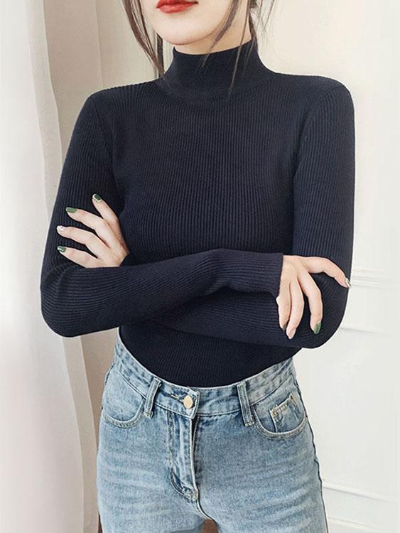 舒適顯瘦坑條半高領針織上衣.11色