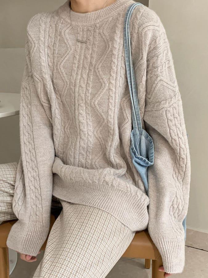 舒適圓領麻花針織長袖上衣,,,K1060065,舒適圓領麻花針織長袖上衣,