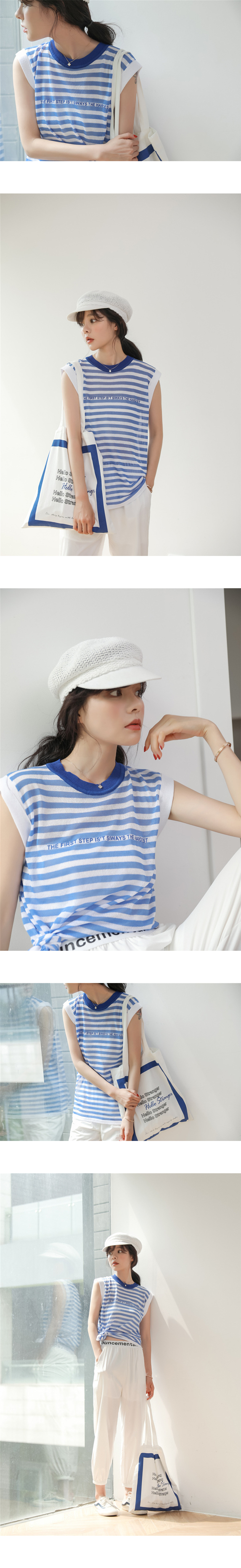 韓版百搭透氣條紋針織背心