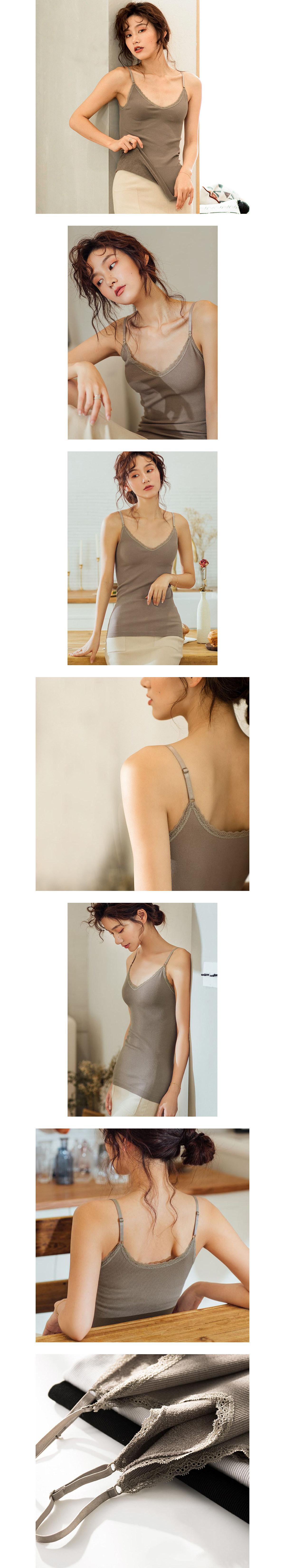 質感毛圈絨細肩帶蕾絲背心.3色
