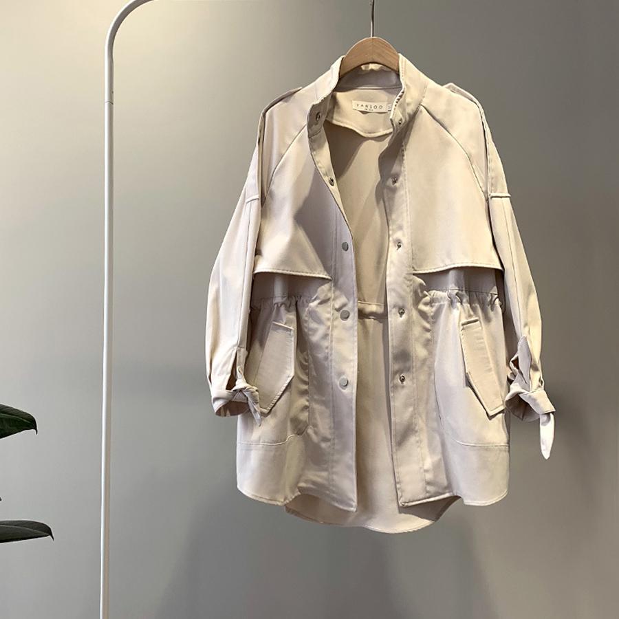 落肩短版多層次收腰風衣外套,,,K2010013,落肩短版多層次收腰風衣外套,